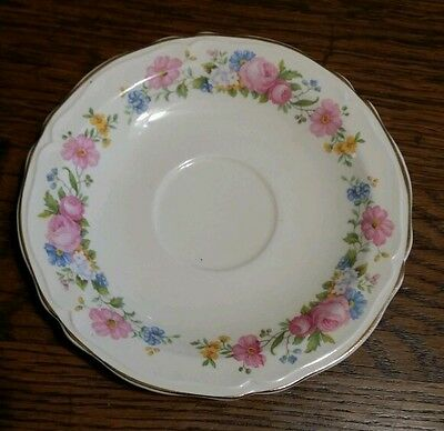 """1933 Edwin M Knowles China Co 33-6 - One Pink Floral 6 1/4"""" Saucer"""