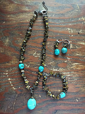 NECKLACE & EARRINGS & BRACELET turquoise & brown JEWELRY set