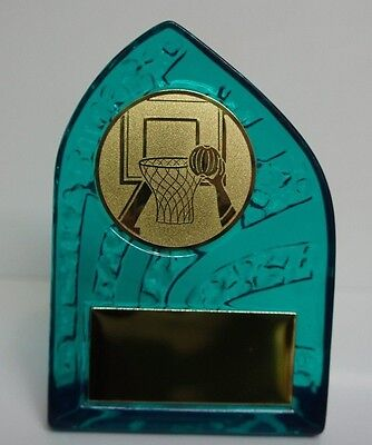 1 X BASKETBALL THEMED ACRYLIC TROPHY 130mm High, FREE ENGRAVING