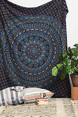 Indian Tapestry Wall hanging Twin Mandala Throw Beach Sheet Hippie Bedspread Art
