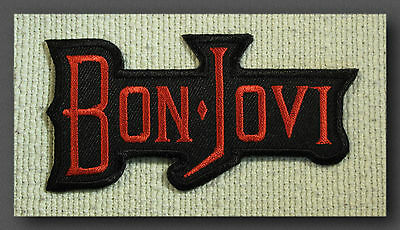 BON JOVI  Red   Embroidered Iron Sew On patch Rock Band