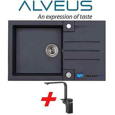 Alveus Black Onyx Granite 1.0 Bowl Square Kitchen Sink Drainer With Tap&waste