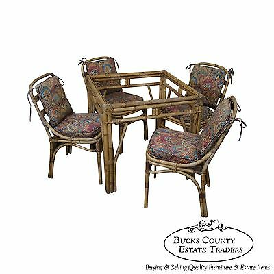 Antique Bamboo Rattan Square Patio Sunroom Dining Table & Chair Set