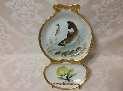 1891-1907 T&V Limoges Gilted Fish w/Lemons 2 Section Serve Dish; Perfect Beauty