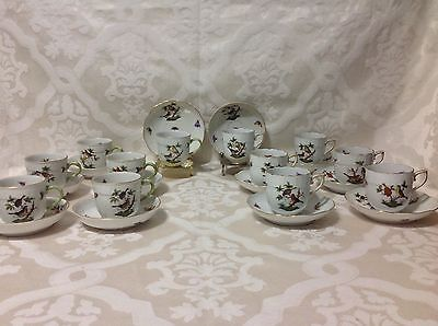 1915-30 12ea Herend Rothchild Birds Demitasse/After Dinner Cups&Saucers; Perfect