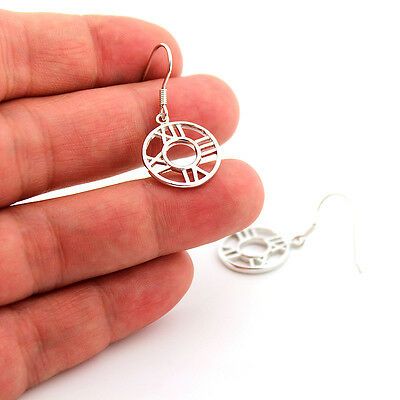 sterling silver Round Roman Numeral Clock Hook Dangling Earring E01