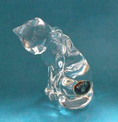 Lovely Bohemian Lead Crystal Cat w/Bow Figurine Paperweight from Czech Republic