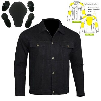 Motorcycle Denim Jacket lined with DuPont™ KEVLAR® Armid Fibre CE Armour