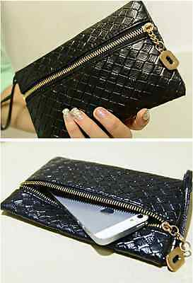 New Retro Personality Black Faux Embossing Clutch Evening Women Hand Bag Purse