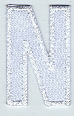 Ecusson Patche  Thermocollant Patch Lettre Blanche Blanc N