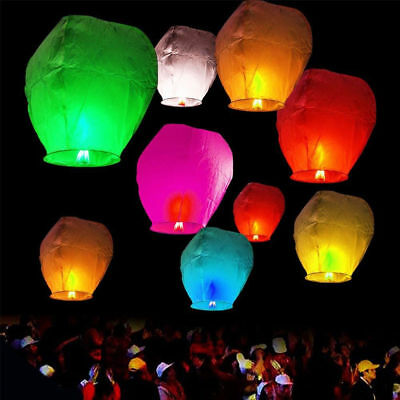 Sky Flying Chinese Paper Wishing Lanterns Lamp Lucky Light Wedding Party New