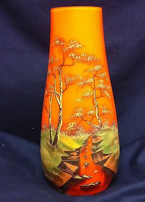 "BOHEMIAN CZECH HAND PAINTED SCENIC ART GLASS VASE 9-1/2"" TALL  1920'S"