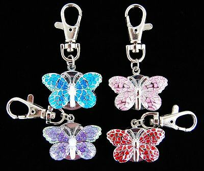 1 pcs New Butterfly Style Key Chain Ring Pocket quartz Watch (4 colours) UKK51