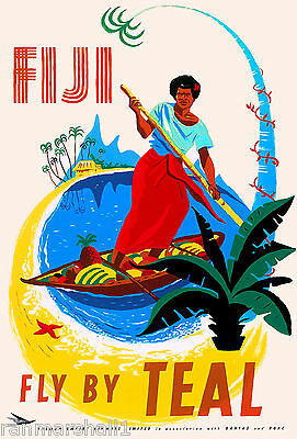 Fiji South Pacific Seas by Air Travel Advertisement Art Poster