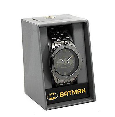 BATMAN DC COMICS Official Tonal Black BAT SIGNAL Metal Band WATCH w/ Gift Box