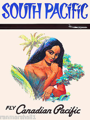 South Pacific Tahiti Tahitian French Vintage Travel Advertisement Poster