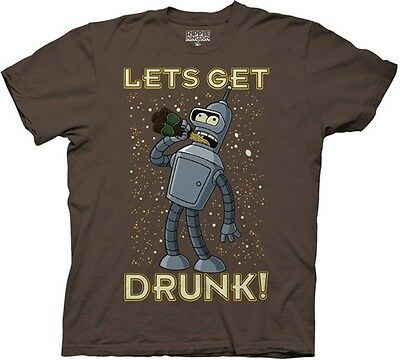 Futurama TV Series Bender Lets get Drunk T-Shirt Size SMALL, NEW UNWORN
