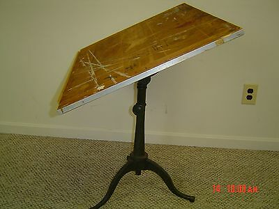 antique drafting table w/cast iron base