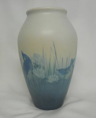 "ROOKWOOD VELLUM 50TH ANNIVERSARY 1930, 8"" E. T. HURLEY VASE,  BIRDS IN CLOVER"