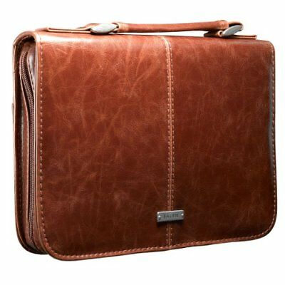 """FREE 2 DAY SHIPPING: Classic Bible / Book Cover w/ """"Faith"""" Badge (Large / Brown)"""