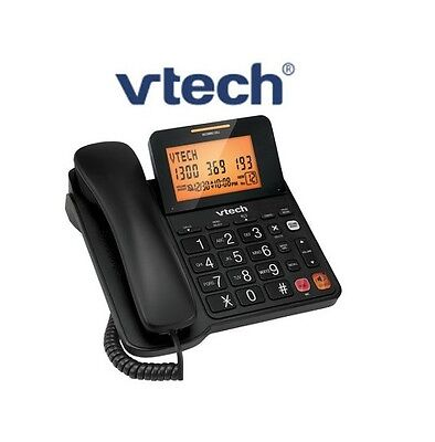 Vtech T1200 Corded Phone With Speaker Phone Big Button Caller Id Black Colour