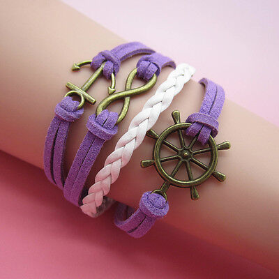 NEW Jewelry fashion Leather Cute Anchor Charm Bracelet bronze lots Style SL13