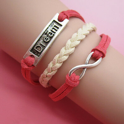 NEW Jewelry fashion Leather Cute Dream Charm Bracelet Silver lots Style SL12