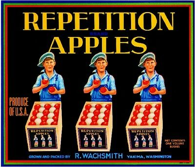 Yakima Washington State Repetition Apple Fruit Crate Label Vintage Art Print