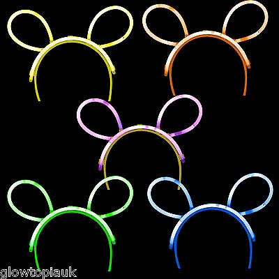 10x Glow in the Dark Bunny Ears - Glow Stick Bright Neon - Parties Festivals