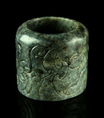 17Th / 18Th Century Chinese Gray Nephrite Jade Archer's Ring
