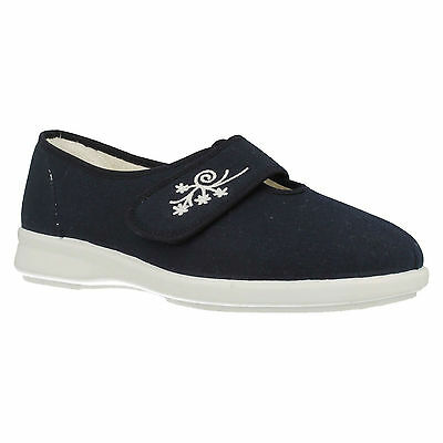 Db Easy B Ladies Sandy Navy Wide Fit Riptape Strap Casual Canvas Everyday Shoes