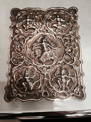 Antique 19th Cent Style Burmese Indian Chines Interes Solid Silver Card Case Box