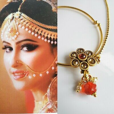 Ladies Nose Ring Nath With Chain Bollywood Jewellery Bridal Asian