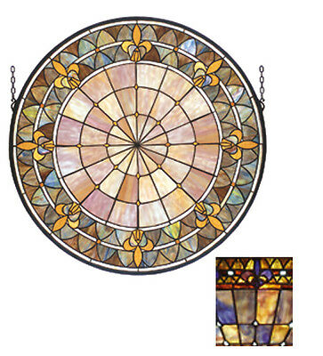"Meyda 13""W X 13""H Fleur-de-lis Medallion Stained Glass Window"