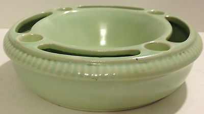 GES GESCH MINT GREEN POTTERY FLOWER FROG 1913/15 - GERMANY