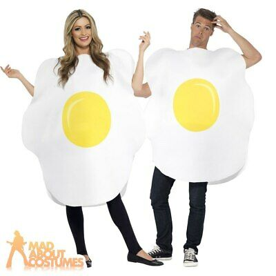 Adult Fried Egg Costume Funny Food Fancy Dress Outfit New Mens Ladies