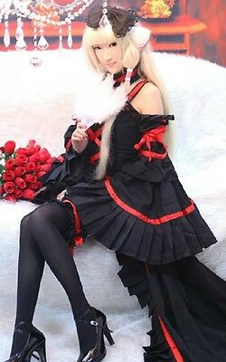 Chobits Chii Gothic Lolita Luxury Ver black and red Cosplay Costume