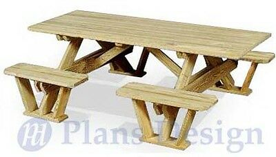 Traditional Rectangle Picnic Table / Bench Out Door Furniture Plans #ODF02