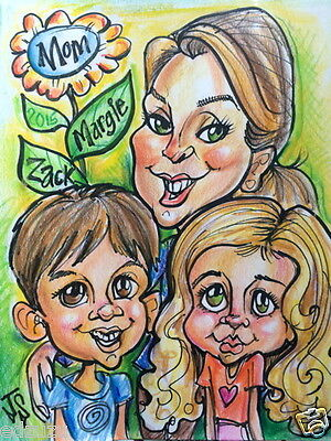 Original Art Custom Hand Drawn Caricature 3 Person Full Color MOTHER'S DAY