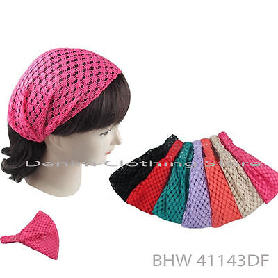 6pcs Women Bandana Lace Net Turban Head Wrap Headband Hair Band Boho Yoga Lots