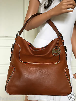 NWT MICHAEL KORS LARGE BROWN(LUGGAGE) LEATHER SHOULDER TOTE BAG PURSE