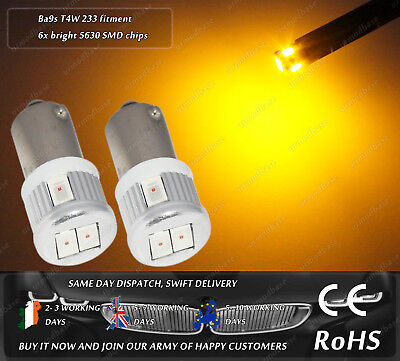 LED SMD 233 T4W BA9S Amber Yellow Orange Side Repeater Indicator Bulbs Lights