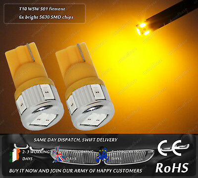 2x LED T10 501 W5W HID Amber Yellow Wedge Indicator Bulbs Side Repeaters 12v 24v