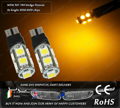 2x LED T10 W5W 501 Yellow Strobe Flash Emergency Hazard Truck Side Lights 24v