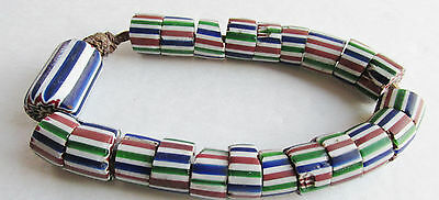 Vintage Venetian Chevron & Striped Multicolor Layered African Glass Trade Beads