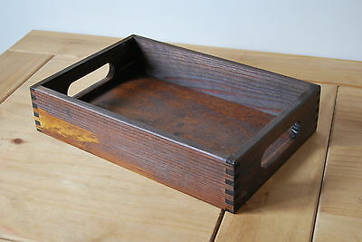 Plain Wood - Wooden Serving Tray 30cmx20cmx 6.3cm in Dark Brown Colour