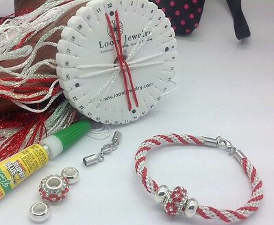 Candy Cane Kumihimo BRACELET SET LOOM Kit - cord, beads,end caps Included!