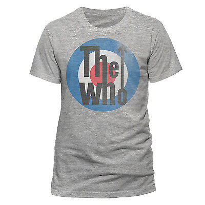 THE WHO TARGET LOGO OFFICIAL cotton T-SHIRT GREY SHORT SLEEVE DALTRY TOWNSEND