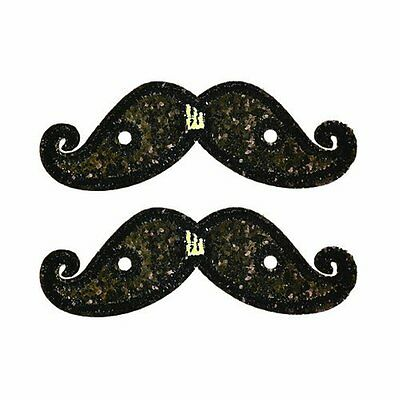 Official Designer Shwings Black Lace In Sparkle Mustache For Shoes 11707 NEW