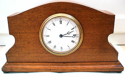 "French 8 Day Mahogany Inlaid Case Platform Movement Mantle Clock GWO 10""H 7""W"
